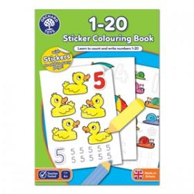 Carte de colorat cu activitati in limba engleza si abtibilduri 1 - 20 - Ochard Toys