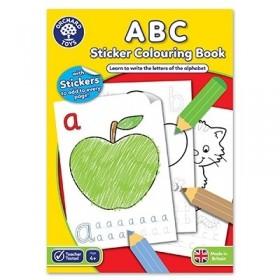 Carte de colorat cu activitati in limba engleza si abtibilduri ABC - Orchard Toys