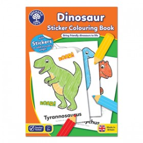 Carte de colorat cu activitati in limba engleza si abtibilduri Dinozaur - DINOSAUR - Orchard Toys