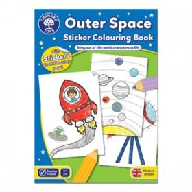 Carte de colorat cu activitati in limba engleza si abtibilduri In Spatiu - OUTER SPACE - Orchard Toys
