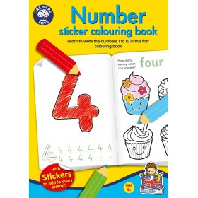 Carte de colorat cu activitati in limba engleza si abtibilduri Invata numerele NUMBER - Orchard Toys