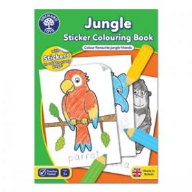 Carte de colorat cu activitati in limba engleza si abtibilduri Jungla - JUNGLE - Orchard Toys