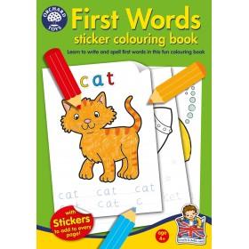 Carte de colorat cu activitati in limba engleza si abtibilduri - Primele cuvinte FIRST WORDS - Orchard Toys