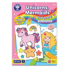 Carte de colorat cu activitati in limba engleza si abtibilduri Unicorni, Sirene si Altele - UNICORNS, MERMAIDS AND MORE - Orchard Toys