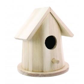 Casuta rotunda pentru pasarele 14 cm x 11 cm x 11 cm - lemn natur