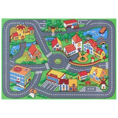Covor pentru camera copilului 133 cm x 95 cm, oras cu stradute si case Quiet Town