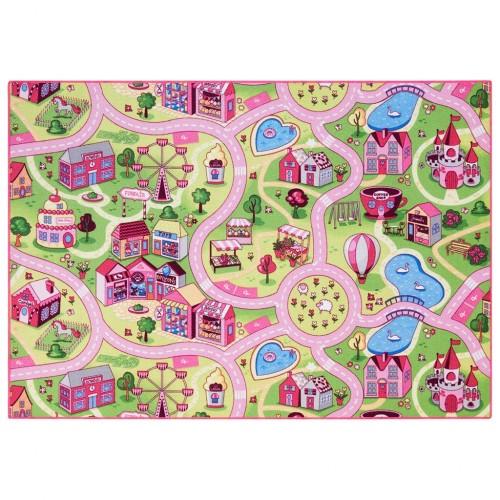 Covor roz pentru camera fetitelor 140 cm x 200 cm, oras cu strazi si case Sweet Town