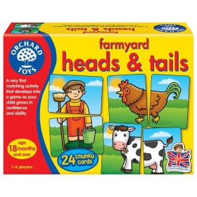 Joc educativ asociere Prietenii de la ferma - Farmyard Heads & Tails - Orchard Toys