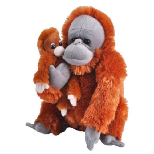 Mama si Puiul - Urangutan - Jucarie Plus Wild Republic 33 cm