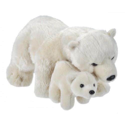 Mama si Puiul - Urs Polar - Jucarie Plus Wild Republic 38 cm