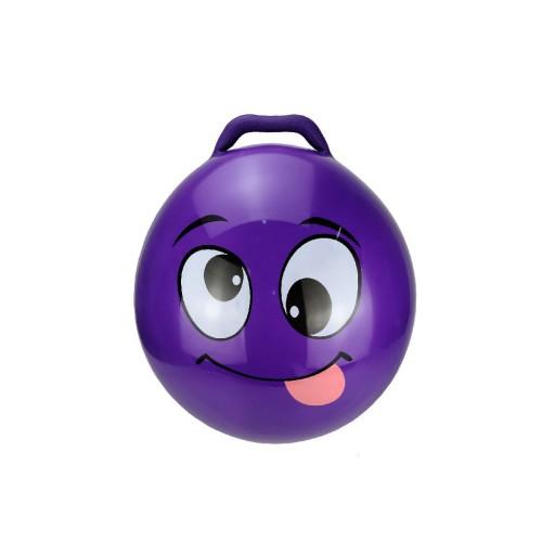Minge gonflabila de sarit, pentru copii, model emoticon mov, 55 cm