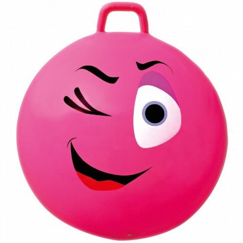 Minge gonflabila de sarit, pentru copii, model smiley face roz, 65 cm