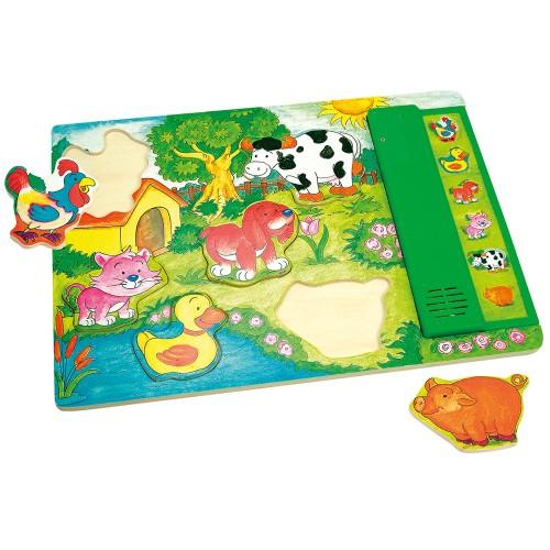 Puzzle din lemn cu sunete - Animale domestice - Bino