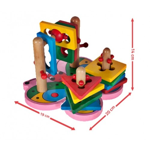 Puzzle educativ din lemn - Fluture sortator 3D - MalPlay