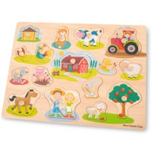 Puzzle lemn Ferma 17 piese - New Classic Toys