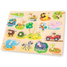 Puzzle lemn Safari 17 piese - New Classic Toys
