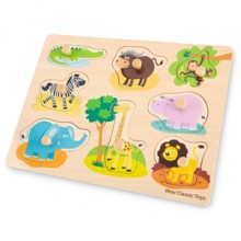Puzzle lemn Safari 9 piese - New Classic Toys