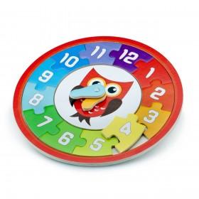 Puzzle lemn ceas - Bufnita - New Classic Toys