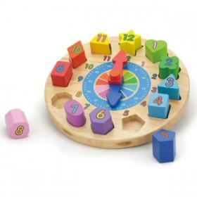 Puzzle lemn - ceas - New Classic Toys