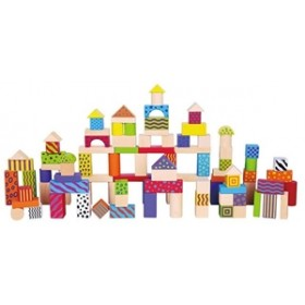 Set de 100 de cuburi din lemn New Classic Toys