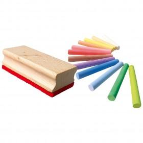 Set 12 crete colorate si burete din lemn - Ses Creative