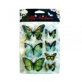 Set 7 stickere 3D - Fluturi verzi
