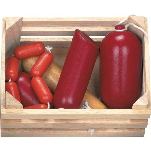 Set alimente din lemn - cos cu salam si carnati - Bino