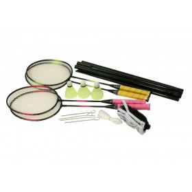 Set badminton 4 rachete, joc dublu, cu fileu si 3 fluturasi