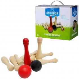 Set bowling din lemn pentru exterior, cu 9 popice și 2 bile - Outdoor Play
