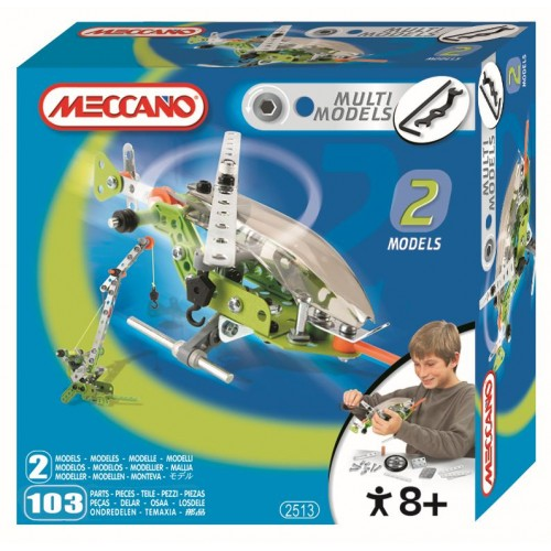 Set constructie 2 in 1 - Elicopter/Macara, 103 piese - Meccano
