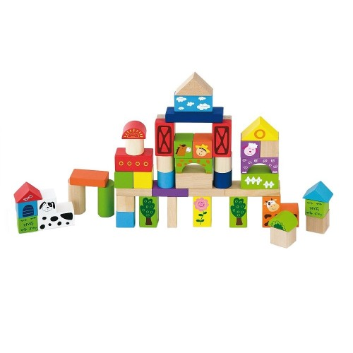 Set constructii din lemn - 50 piese - Ferma