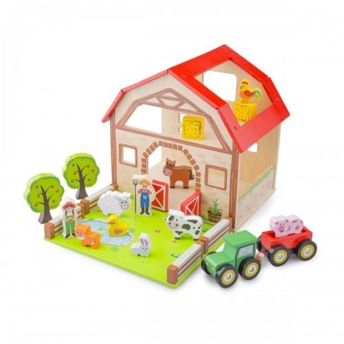 Set ferma cu 20 de piese din lemn - New Classic Toys