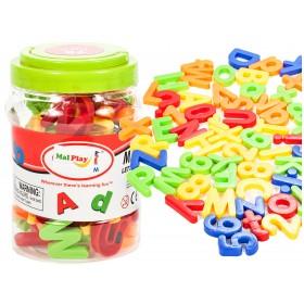 Set litere si cifre magnetice 78 piese, in cutie depozitare - MalPlay