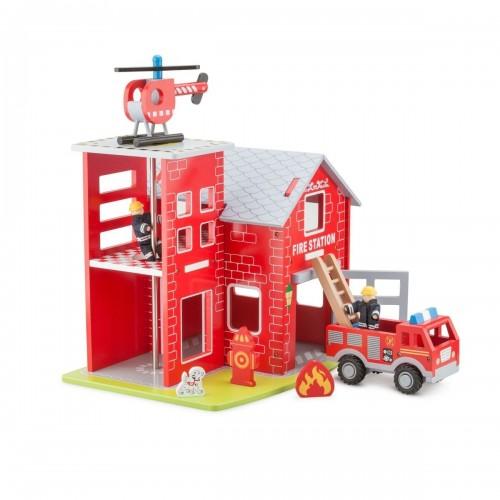 Set statie de pompieri din lemn - New Classic Toys