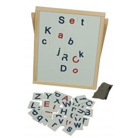 Tabla de scris din lemn cu alfabet magnetic, litere mari si mici