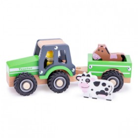 Tractor cu trailer - animale  - New Classic Toys