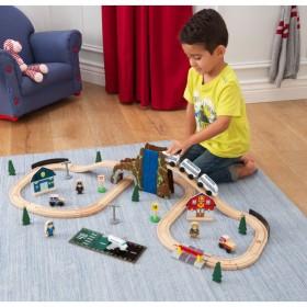 Trenuleț din lemn Euro Express cu set de accesorii - KidKraft