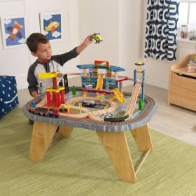 Trenuleț din lemn Transportation Station și masă de joacă - KidKraft