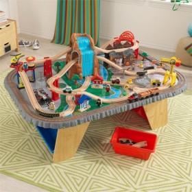 Trenuleț din lemn Waterfall Junction și masă de joacă - KidKraft