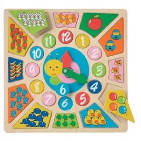 Ceas educativ din lemn New Classic Toys