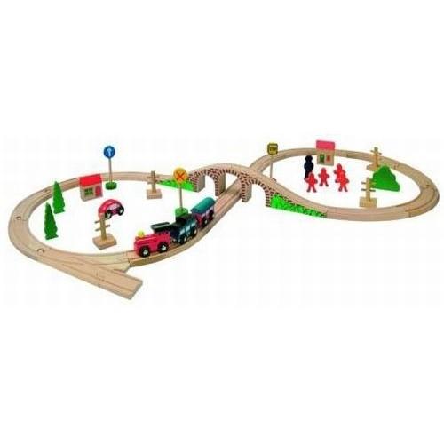 Circuit tren in forma de 8 cu 40 de piese Woody