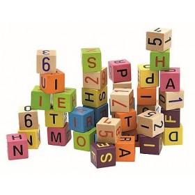 Cuburi colorate cu cifre și litere Woody