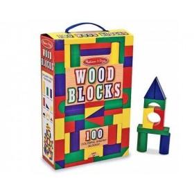 Cuburi din lemn colorate 100 bucati