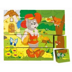 Cuburi puzzle basme - Woody