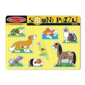 Puzzle de lemn cu sunete - Animale de companie