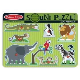 Puzzle de lemn cu sunete - Animale de la Zoo