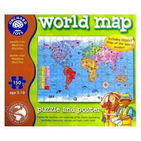 Puzzle Harta lumii - World Map Puzzle and Poster - Orchard Toys