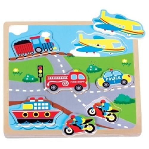 Puzzle transport cu sunete New Classic Toys
