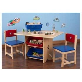 Set 2 scaune si masa cu lazi depozitare Star - KidKraft
