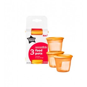 Set 3 recipiente de stocare hrana cu capac Tommee Tippee Essentials 4 luni+